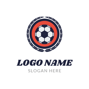 Blue Feather and Encircled Football logo design