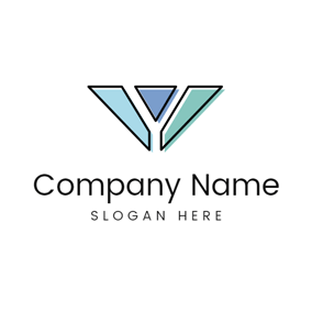 Blue Figure and Letter Y logo design