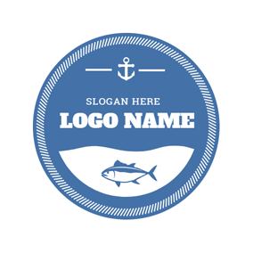 Blue Fish and White Hook logo design