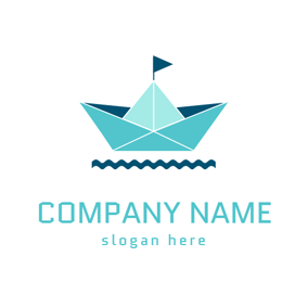 Blue Flag and Green Boat logo design