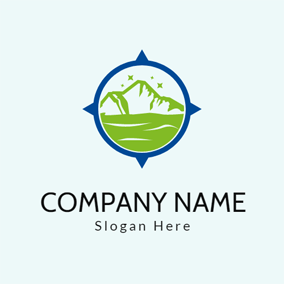 Blue Frame and Green Mountain logo design