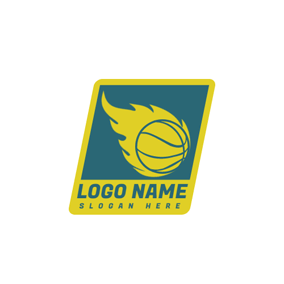 Blue Frame and Yellow Basketball logo design