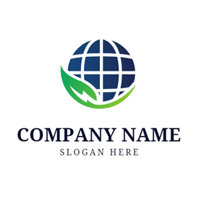 Blue Globe and Green Leaf logo design