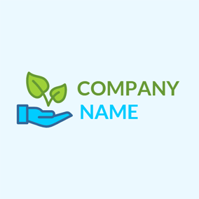 Blue Hand and Green Leaf logo design