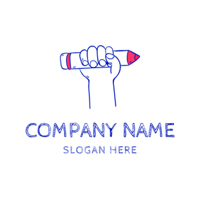 Blue Hand and Red Pencil logo design