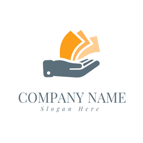 Blue Hand and Yellow Banknote logo design