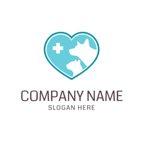 Blue Heart and Animal Outline logo design