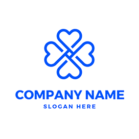 Blue Heart and Unique Clover logo design