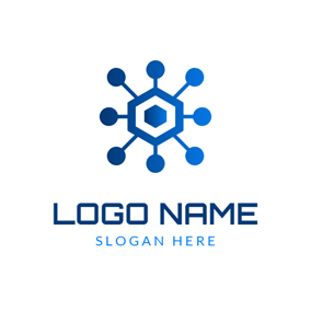 Blue Hexagon and Blockchain logo design