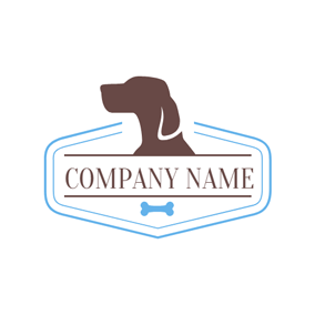 Blue Hexagon and Brown Dog Face logo design