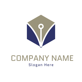Blue Hexagon and Gray Nib logo design