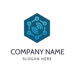 Blue Hexagon and Signal logo design