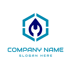 Blue Hexagon and White Spanner logo design