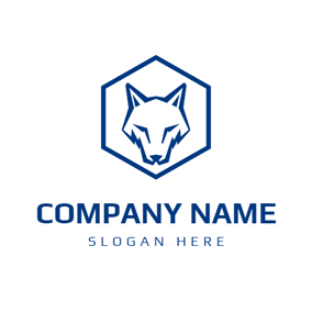Blue Hexagonal Fox logo design