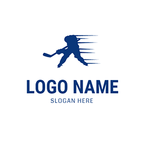 Blue Hockey Player Icon logo design