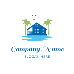Blue Hotel and Seaside Resort logo design