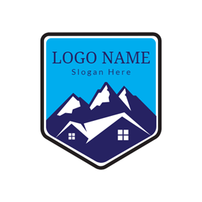 Blue House and Mountain Resort logo design