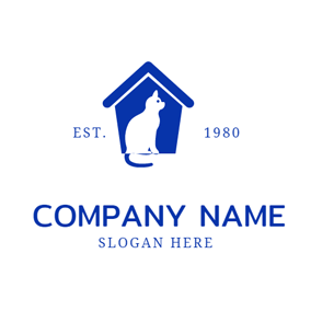 Blue House and Seated Cat logo design