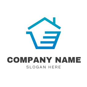 Blue House and Trolley logo design