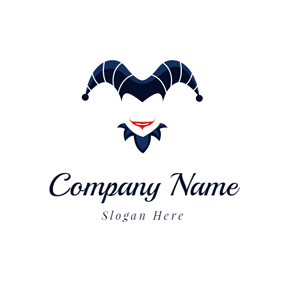 Blue Joker Hat and Face logo design