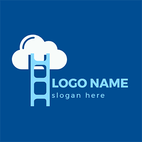 Blue Ladder and White Cloud logo design