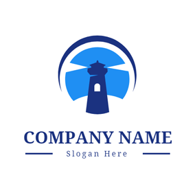 Blue Lamplight and Lighthouse logo design
