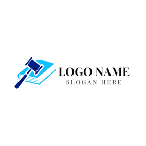 Blue Law Book and Lawyer logo design