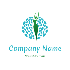 Blue Leaf and Green Woman logo design