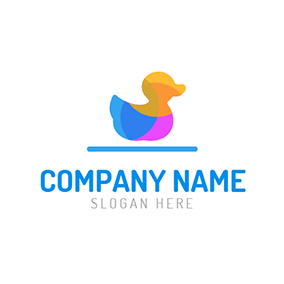 Blue Line and Colourful Duck logo design