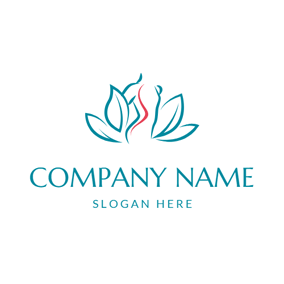 Blue Lotus and Human Spine logo design