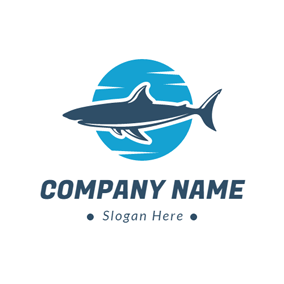 Blue Moon and Mazarine Shark logo design