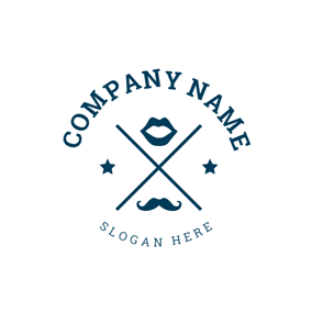 Blue Mouth and Mustache logo design