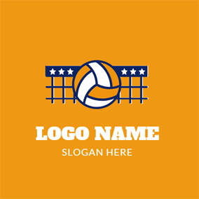 Blue Net and Orange Volleyball logo design