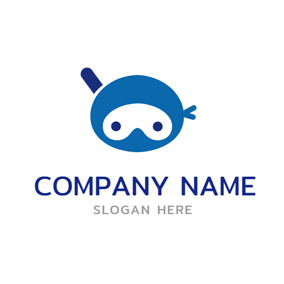 Blue Ninja Head Icon logo design