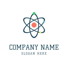Blue Orbit and Colorful Atom logo design