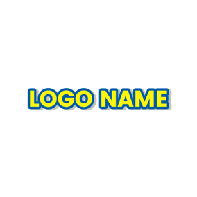 Blue Outlined Yellow Text logo design
