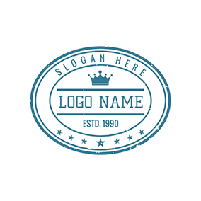 Blue Oval Stamp With Crown logo design