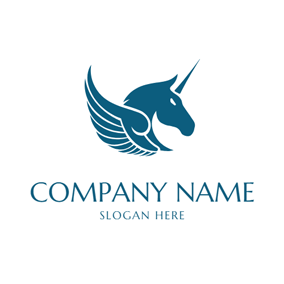 Blue Pegasus Wing and Head logo design