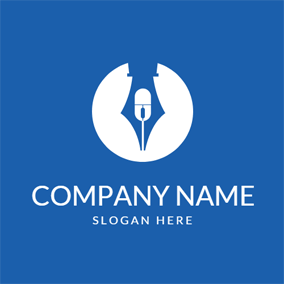 Blue Pen and White Microphone logo design