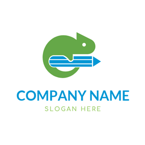 Blue Pencil and Green Cute Lizard logo design
