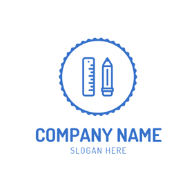 Blue Pencil and Ruler logo design