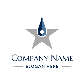Blue Pointer and Gray Star logo design