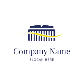 Blue Razor and Comb logo design