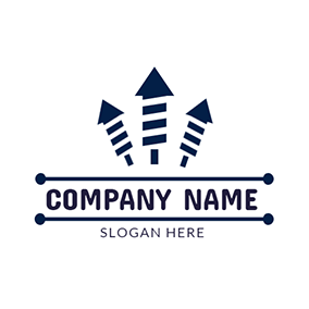 Blue Rectangle and Arrow logo design