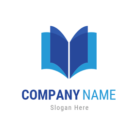 Blue Rectangle and Opened Book logo design