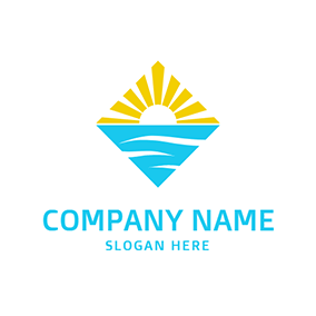 Blue River and Yellow Sun logo design