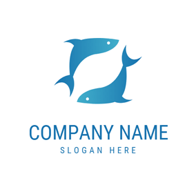 Blue Rotary Fish logo design
