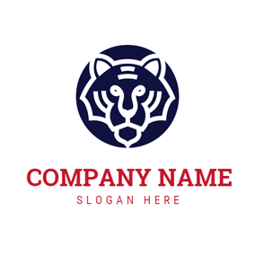 Blue Round Tiger logo design
