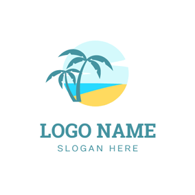 Blue Sea and Beautiful Beach logo design