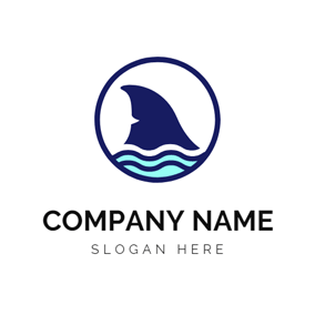 Blue Sea and Fish logo design